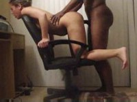 white mistress got fucked by black lover on computer chair